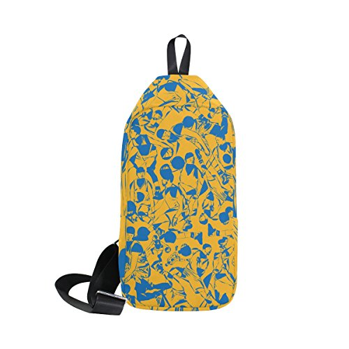 COOSUN Basketball Muster Sling Bag Schulter Brust Kreuz Körper Rucksack Leicht Casual Tagesrucksack für Männer Frauen