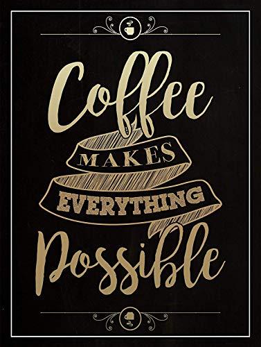 Coffee Makes Everything Possible Carteles de Chapa Póster de Pared Hojalata Vintage...