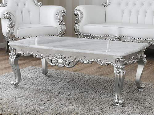 SIMONE GUARRACINO LUXURY DESIGN Table Basse de Salon Regina Style Baroque Moderne Feuille Argent marbre Blanc Carrara