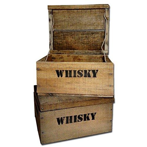 Unbekannt Whisky Holzkiste, Mini (21x27x14,5cm), 2-er Set, Vintage, Weinkiste, Obstkiste mit Deckel und Aufdruck