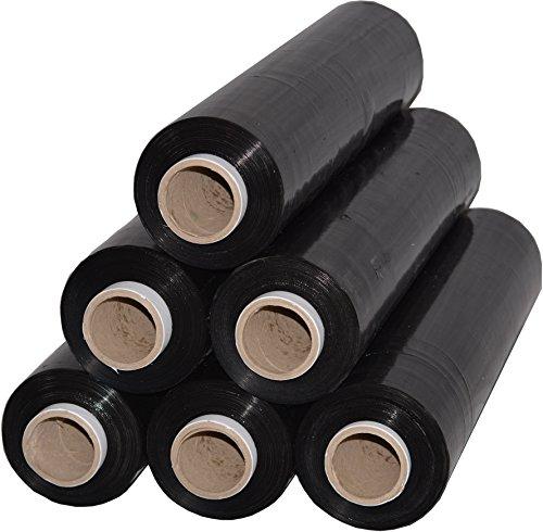 6 Rollen Beste-Folie Stretchfolie 23my 500mm - 2,5kg Palettenfolie Handfolie Wickelfolie (schwarz)