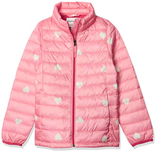Amazon Essentials Hooded Puffer Jacket Outerwear-Jackets, Pink Heart, Large