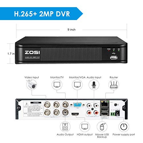 ZOSI H.265+ 1080p Home Security Camera System Outdoor Indoor, 1080N CCTV DVR 8 Channel with Hard Drive 1TB and 4 x 1080p Surveillance Bullet Camera with 80ft Night Vision, Remote Access, Motion Alerts
