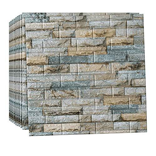 AUEDC Ladrillo de Papel Tapiz 3D, 20 Piezas Paneles de Pared Papel Tapiz de Espuma Autoadhesivo Panel de Espuma Impermeable para Cocina/Decoración de Pared de TV 70 × 77 CM,Gray 1