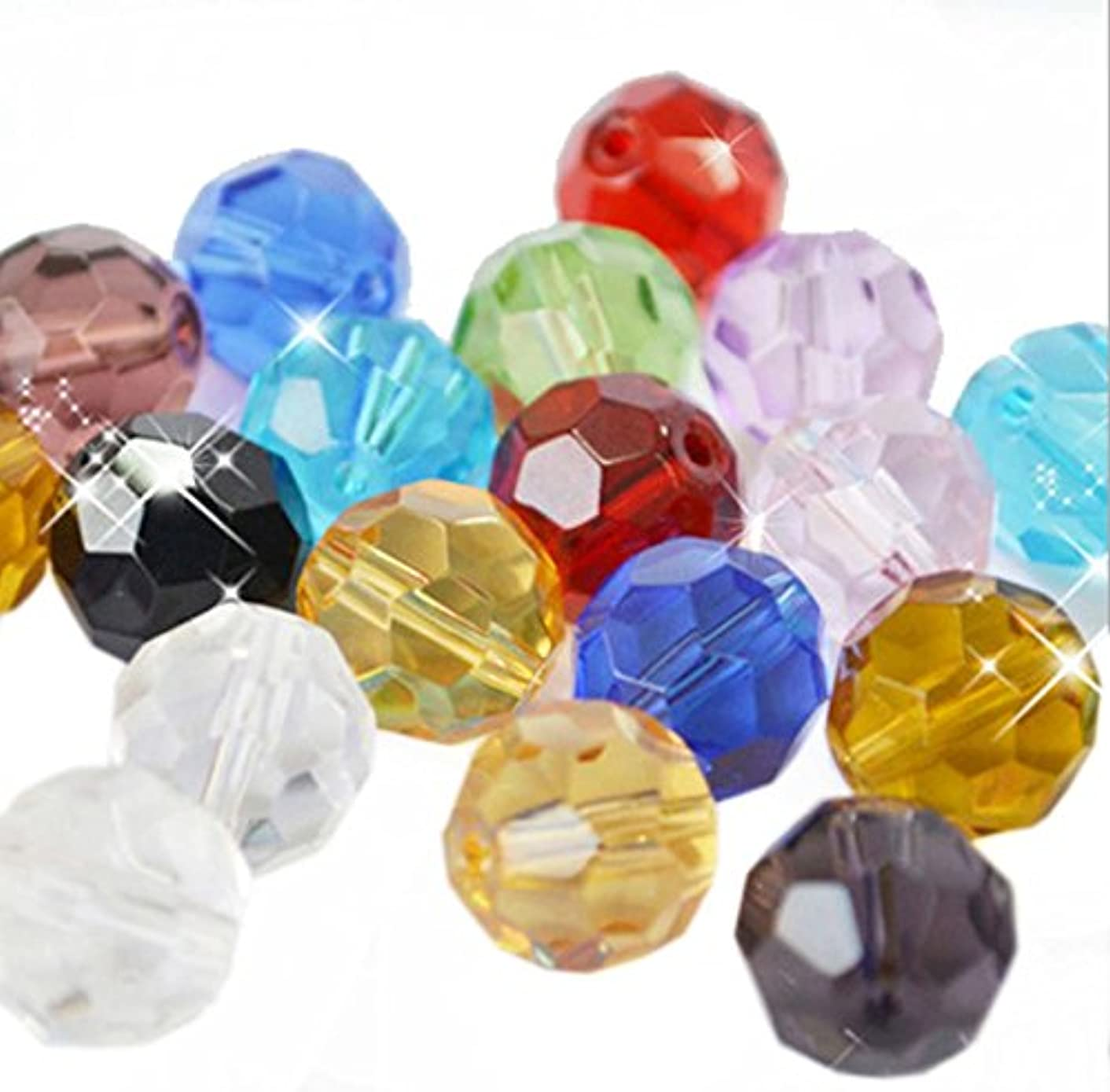 BIHRTC Pack of 300 Rondelle Faceted Crystal Glass Spacer Loose Beads for Jewelry Making Findings (8mm, Assorted color)