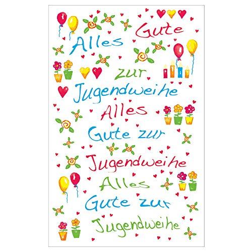 Susy Card, 40025469, wenskaart voor jongeren, springende mensen, gekleurde balken Bloemen en ballonnen