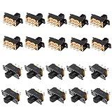 Qiying SS22F25-G7 2-Position DPDT 2P2T Panel Mount Mini Slide Switch Soldering Lug 20Pcs