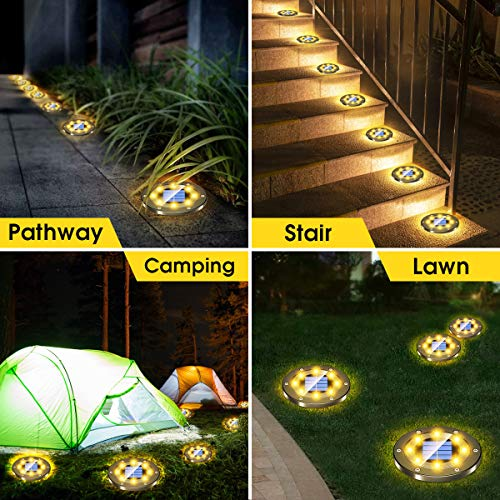 Biling Solar Lights Outdoor Grid Design Shell, Solar Powered Frosted Black Ground Lights Outdoor Waterproof, 8 LED Solar Disk Lights for Pathway Garden Yard Landscape Patio Lawn - Warm White (8 Pack)