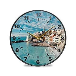 Promini Italy Ocean Beach Wooden Wall Clock Silent Battery Operated Non Ticking Wall Clock Vintage Wall Decor for Kitchen, Living Room, Bedroom, School, or Office