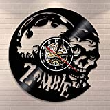 LED de colores Decoración de reloj de pared de vinilo Reloj de pared de Zombie, arte de pared de terror, infección de zombi, reloj de pared con registro de vinilo Vintage, decoración de pared de