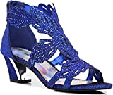 Lime03N Womens Open Toe Mid Heel Wedding Rhinestone Gladiator Sandal Wedge Shoes (8 B(M) US, Royal)