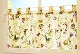 """Kamaca - Tessili della serie """"Farfalle sul prato in fiore"""" in color crema con delicate tonalità pastello, un gioiello in ogni stanza, Poliestere, Crema – multicolore., Bistrogardine 50x150 cm"""