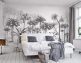Papier Peint 3D Chambre Salon Black And White Sketch Tropical Rainforest Coconut Tree...