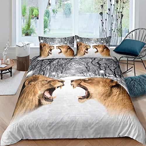 MMHJS 3-Teiliges Set Mit Bettbezug Mit Reißverschluss 3D-Digitaldruckbettwäsche 2 Kissenbezüge Realistisches Tierreihenmuster
