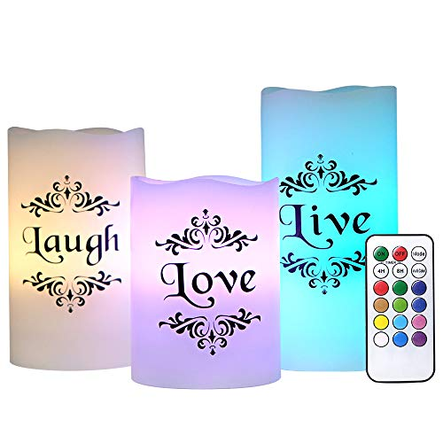 Romantic Led Candles With Live, Love, Laugh Decal