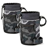 MIZATTO Bike Cup Holder – 2 Pack Water Bottle Holder for Bike - Universal Cup Holders for Bike, Boat, UTV/ATV, Scooter, Wheelchair etc - Water Bottle Cage with Net Pocket and Cord Lock (Camouflage)