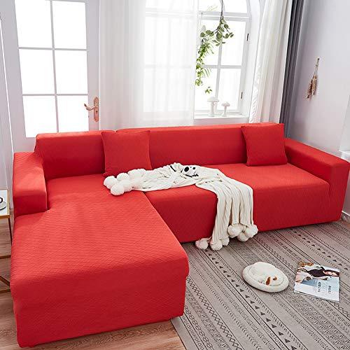 CUICI Modernas Jacquard Elasticas Protector De Sofá 1-Pieza Suave Protector Cubierta De Muebles para Perros Gatos Niños,Funda Sofá Funda De Sofá-Rojo 1 Plaza(90-140cm)