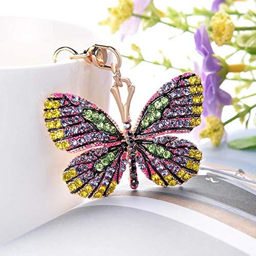 SZLGPJ Llavero Mariposa de Cristal Brillante Cadena de Claves de aleación de Rhinestone Completo para Mujeres Chica Bolsa de Coche Accesorios Moda Llavero Regalo Red