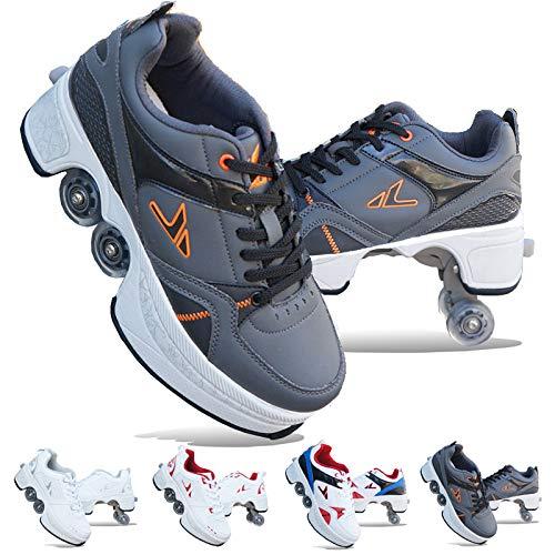 ZHANGJUN Inline-Skate Rollschuh Roller Skates Lauflernschuhe,Sneakers,2in1 Mehrzweckschuhe Schuhe Mit Rollen Skateboardschuhe,Verstellbare Quad-Rollschuh Stiefel,Grey-EU34/UK4