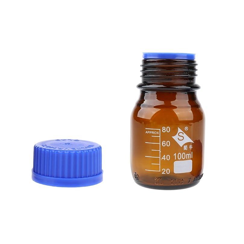 スライム顔料良いガラス試薬瓶 丸形 スケールライン付き 広い口 実験室 家庭用 耐熱性 全4サイズ - 100ml