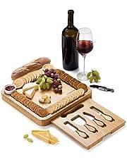 JIYUERLTD kaasbord met messen en opener, snijplank, bamboe snijplank, kaasdiensten, bordje voor wijn, kaas, vlees.33.0x33.0x3.8 cm.
