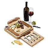 JIYUERLTD Tablas de Queso y Juego de Cuchillos y abridor,Tablas de Cortar,Tablas de Cortar de bambú,Servicios de Queso,Plato para Vino Nueces Carne.13.4x13.4x1.5 Pulgadas.