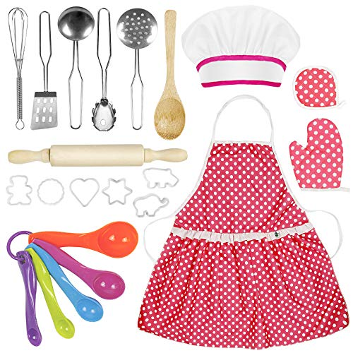 ASINNO Complete Kids Cooking and Baking Set 22Pcs ,Kids Chef Role Play Costume Set,Includes Apron,Chef hat,Mitt&Utensil for 3-7Years Old Girls