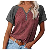 Womens Short Sleeve Shirts and Raglan V Neck T Shirts Tees Buttons up Color Block Casual Loose Fit Tshirts Tops Wine