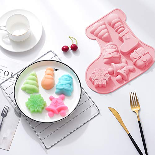 Whaline Christmas Silicone Baking Mould Chocolate Candy Mold Non Stick for Ice Cube Jelly Cake Pudding Fondant, Santa Clause Snowflake Xmas Tree Bell Stocking Pattern, Christmas Party Supplies