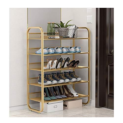 JIADUOBAO Zapatero de metal moderno estilo simple, estante de almacenamiento de pie para sala de estar, pasillo de baño, muebles de almacenamiento de zapatos, 75 x 30 x 99 cm, oro/negro (color oro)