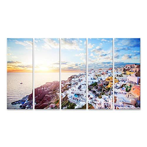 Cuadro en Lienzo Hermoso Paisaje de la Isla de Santorini con Cielo de mar y Nubes La Ciudad de Oia, hito de Grecia Cuadros Modernos Decoracion Impresión Salon