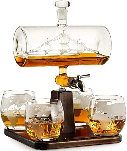Creative Antieke Bootvormige Decanter Met 4 Geëtste Globe Whiskyglazen, Liquor Dispenser Voor Drank, Scotch, Bourbon, Wodka - 1000Ml