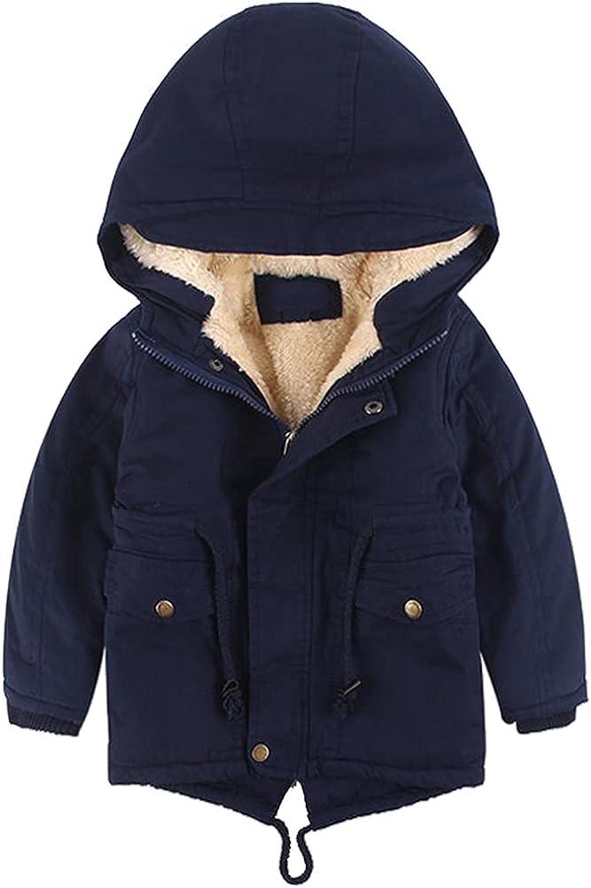 LPATTERN Boys Girls Winter Parka Coat Sherpa Fleece Cotton Padded Hooded Jacket 4-8Y