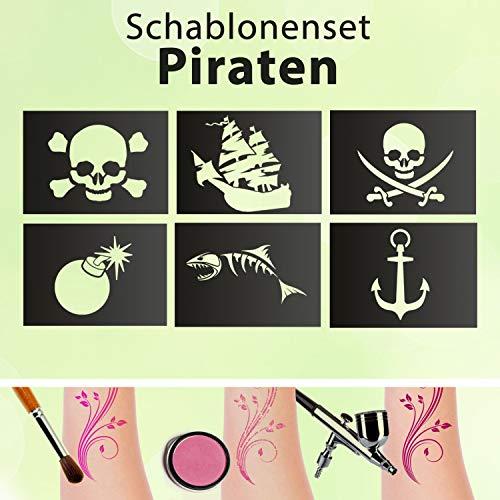 Tattoo Schablonen SET Kinder Piraten 6 Schablonen Glitzertattoos Selbstklebend Totenkopf Anker