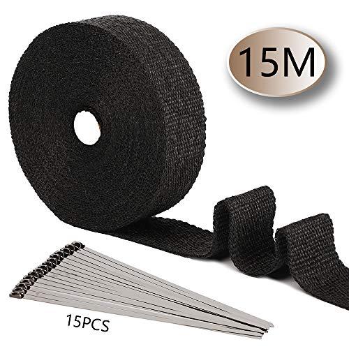 Smarcy Hitzeschutzband Basaltfaser Auspuffband 15M x 50MM 15 Stück Kabelbinder, für Fächerkrümmer Thermoband Krümmerband Hitzeschutz bis 1000°C für Auto Motorrad Auspuff, Schwarz