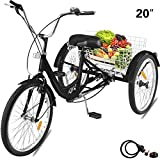 Happibuy Adult Tricycle 1 Speed 7 Speed Size Cruise Bike 20 Inch Adjustable