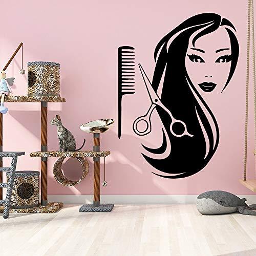 Peluquería Salón de belleza Logo Sign Peluquería Corte de pelo Tijeras Peine Cabello largo Mujer Peinado Etiqueta de la pared Calcomanía de vinilo Sala de estar Studio Club Decoración para el hog