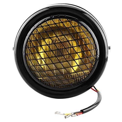 Suuonee Motorkoplamp, universeel, voor motorfiets, retro koplampen, ronde lamp, koplamp, schelp, zwart, gele lens