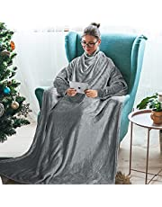 Catalonia 袖付き毛布 着る毛布 レディース ポケット付き 着るブランケット メンズ あったか ロング丈 かい巻き ガウン ソファーブランケット 防寒対策 お昼寝ブランケット 柔らかく肌触り 丸洗い 身丈180cm×横130cm(グレー)