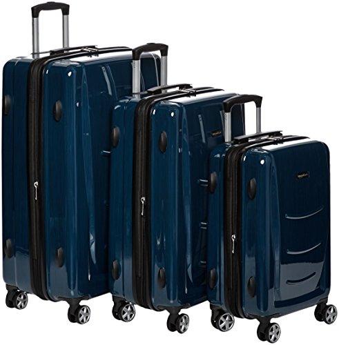 AmazonBasics Hardshell Spinner, 3 Piece Set - 20', 24', 28', Navy Blue