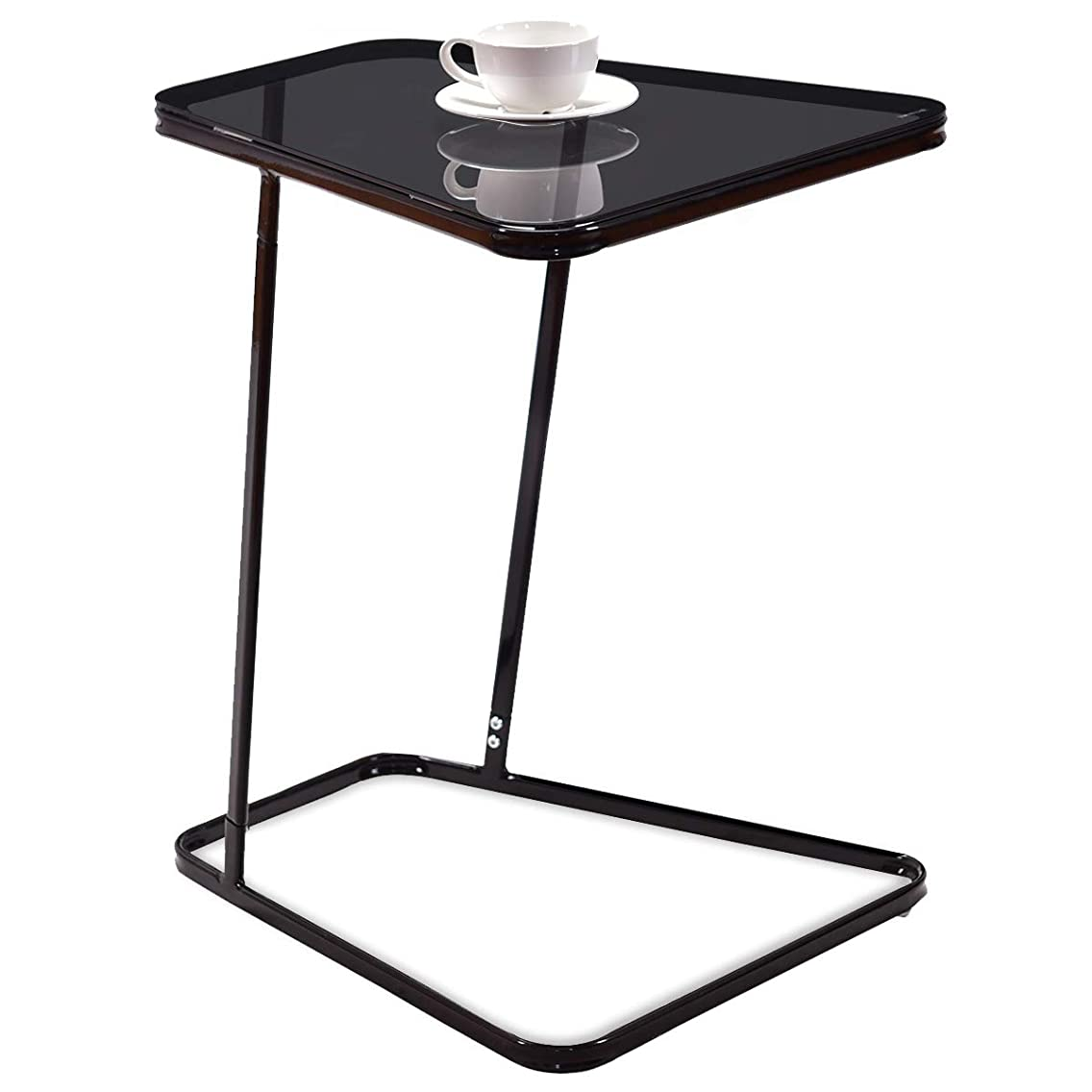 Tangkula Snack Table Home Glass Top Metal Frame Sofa Side End Table C Shaped Table (1, Black)