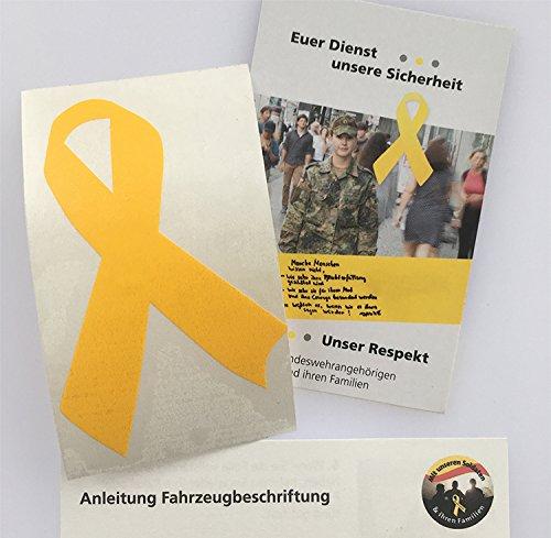 Gelbe Schleife Aufkleber (Solidarität Soldaten - Größe N: 5 x 7,5 cm)