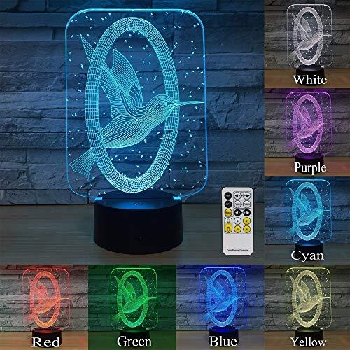 Wfmhra Kolibri 3D Nachtlicht Home Decorations 7 Farben ändern Sich mit Fernbedienung Baby Nachtlicht neben Lampe Kids Lamp Drop Ship