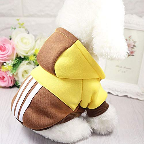 Ademend huisdier zachte winter warm huisdier hond kleding sport hoodies voor kleine honden Chihuahua Pug Bulldog kleding puppy hond jas jas, S, Geel Bruin