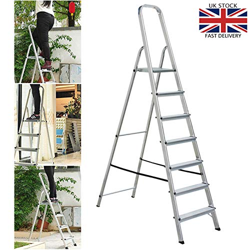 Heavy Duty 7 Step Ladder Aluminium Folding Portable Stepladder Anti-Slip Safe Comfort Steps 150kg Capacity