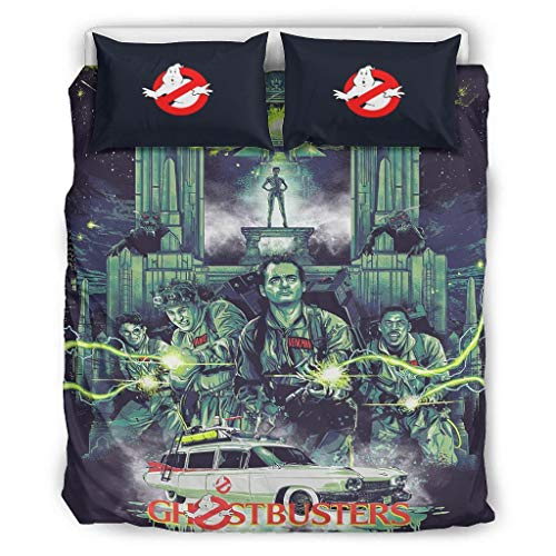 Vrnceit Ghostbusters Hypoallergenic 3 Piece Bed Set Bedding A duvet cover & two pillowcases for Girls Boys Bedroom white 90x90 inch