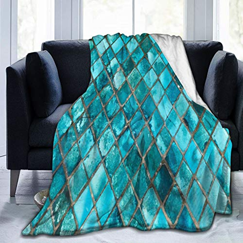 QUEMIN Türkisblau Weiche ultraweiche Fleece-Decke, Mikrofaser Ganzjahresbett Couch Sofa-Decke Kinder Erwachsene, 80'x...