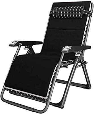 WXF Garden Chairs recliners Patio Reclining Chairs with Cushions for Heavy People, Folding Outdoor Beach Lawn Camping Portable Chair, Support 200kg Black Metal