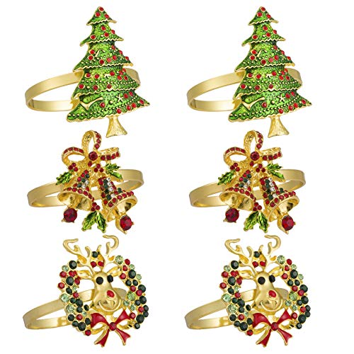 Set of 6 Christmas Napkin Rings- Xmas Tree Wreath Bell Napkin Holder Rings Full of Colorful Rhinestones for Christmas Holiday Party Dinner Wedding Banquet Dinning Table Settings Decoration (3 Styles)