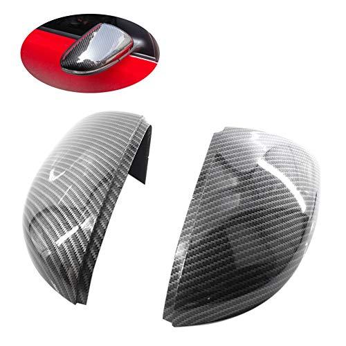 WOVELOT Seitenspiegelabdeckungen (Carbon Mira) Ersatz-Spiegelkappen aus Carbon für Golf 6 Jetta Mk6 GTI GTD R20 Außenspiegel